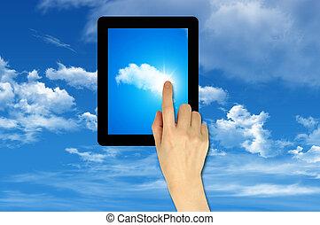 toucher, concept, tampon, nuage, calculer