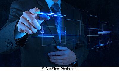toucher, homme affaires, écran, pousser, main