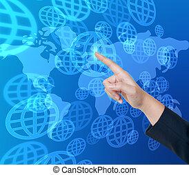toucher, interface, pousser, global, écran, main, bouton