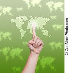 toucher, interface, pousser, mondiale, écran, main, carte, bouton