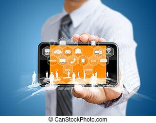 toucher, mobile, écran, téléphone
