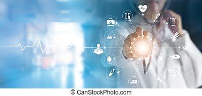 toucher, monde médical, réseau, écran, médecine, stéthoscope, technologie, docteur, interface, virtuel, main, icône, concept, connexion, moderne