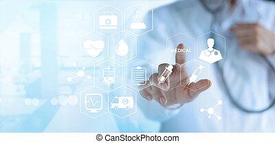 toucher, monde médical, réseau, docteur, virtuel, blanc écran, icône, concept, technologie