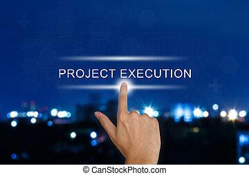 toucher, projet, exécution, pousser, écran, main, bouton