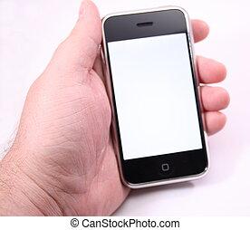 toucher, téléphone, écran, moderne, blanc