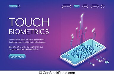 toucher, vecteur, biométrie, illustration technologie