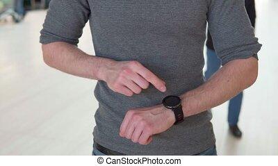 touchers, montre, intelligent, main
