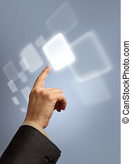 touchscreen, bouton, virtuel, main, urgent, résumé