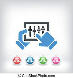 touchscreen, concept, mélangeur, icône
