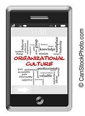 touchscreen, concept, mot, culture, téléphone, organisationnel, nuage