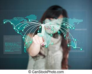 touchscreen, -, exposer, futuriste, worldmap