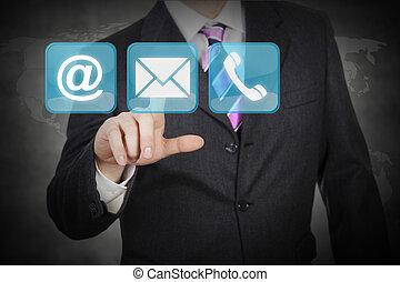 touchscreen, futuriste, contacts