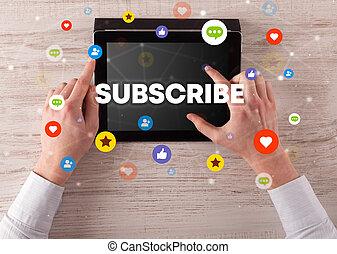 touchscreen, gros plan, social, concept, média