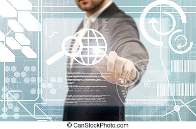 touchscreen, hommes affaires, toucher, interface, futuriste