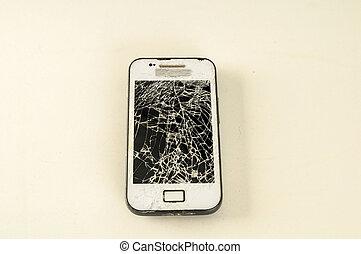 touchscreen, mobile, smartphone, moderne, cassé, écran