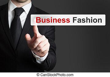 touchscreen, mode, business, poussée bouton, homme affaires