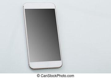 touchscreen, moderne, smartphone, blanc