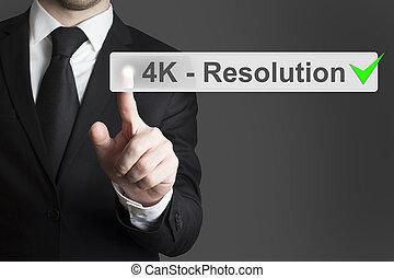 touchscreen, poussée bouton, 4k, homme affaires, résolution