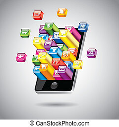 touchscreen, vecteur, smartphone, illustration
