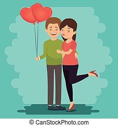 toujours, amour, couple, ensemble, icône