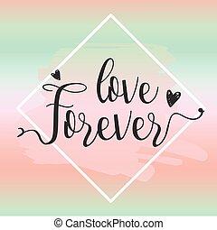 toujours, amour, illustration., elements., vecteur, conception