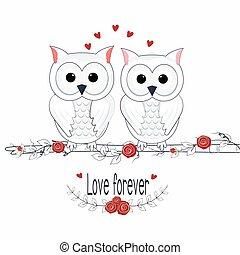 toujours, mignon, salutation, lettrage, amour, hibou, carte