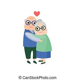 toujours, vieux, couple, vie, retraité, amour, personne agee