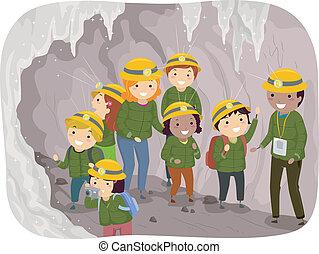 tour, caverne, gosses