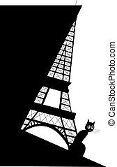 tour, chat, noir, eiffel
