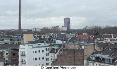 tour, cologne, sur, nuageux, coup, vue, tv, jour, allemagne, bas, ville, aerial:
