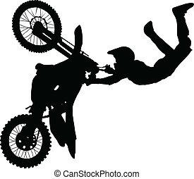 tour, exécuter, silhouette, cavalier moto