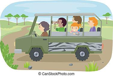 tour, famille, safari