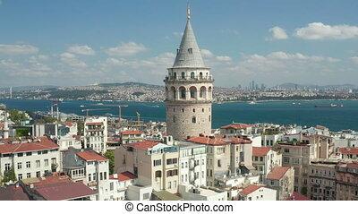 tour, jour, clair, galata, centre, ancien, coup, révéler, istanbul, rivière, haut, ciel, bosphore, grue, bleu