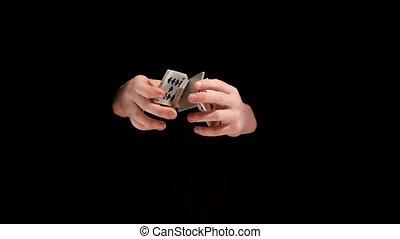 tour, lent, magicien, mouvement, fond, noir, cartes, jouer