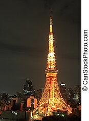 tour, nuit, éclairé, tokyo