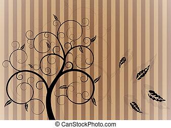 tourbillon, automne, arbre