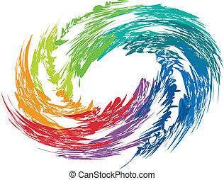 tourbillon, coloré, image., résumé