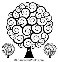 tourbillon, hibou, arbre