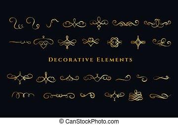tourbillons, grand, décorations, ornements, calligraphic, ensemble