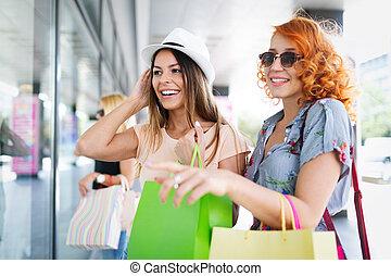 tourisme, filles, sacs, ctiy, achats, amusement, beau, concept., achats