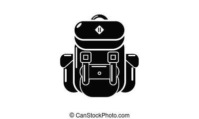 tourisme, sac à dos, animation, icône
