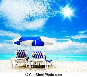 tourisme, sunbed, concept., vacances plage