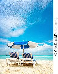 tourisme, sunbeds, concept., vacances plage