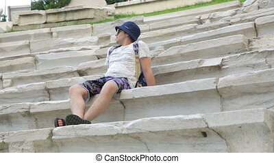 touriste, antiquité, stade