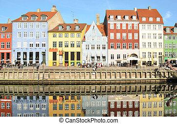 touriste, célèbre, nyhavn, danemark, -, attraction, copenhague