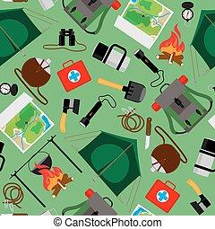 touriste, camping, camp, pattern., seamless, vecteur, forêt, fond