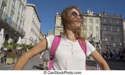 touriste, elle, tour, adolescent, temps, apprécier