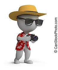 touriste, gens, -, appareil photo, petit, 3d