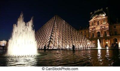 touristes, devant, fontaines, louvre, promenade
