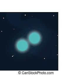 tournant, itself., double, autour de, étoile